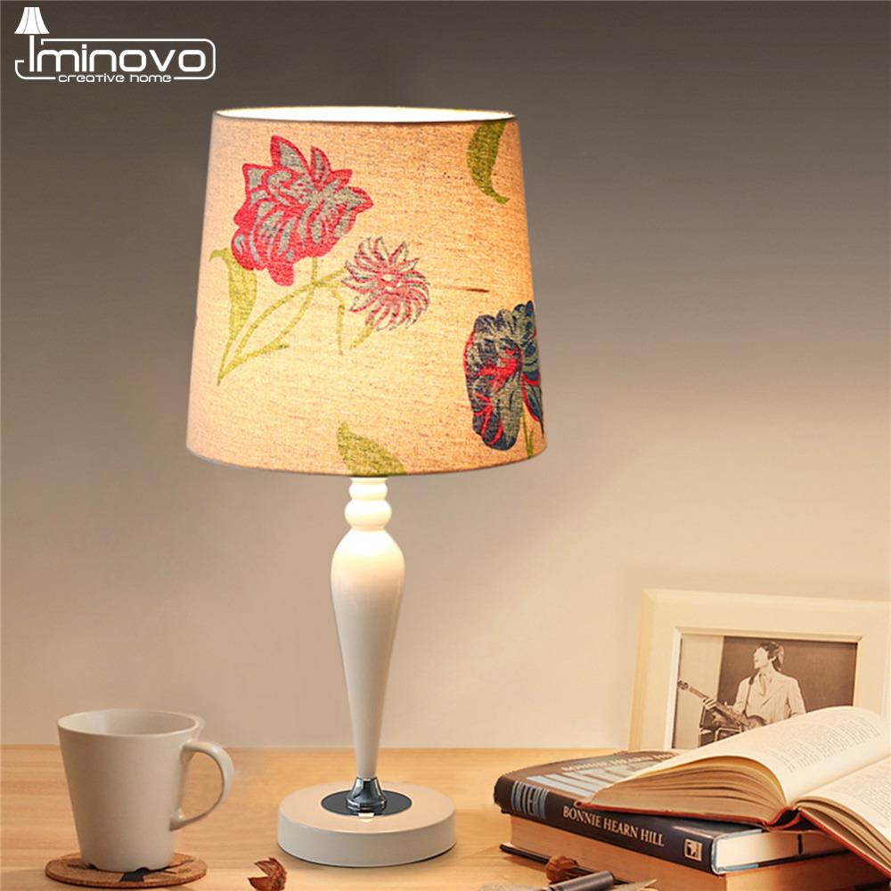 IMINOVO Modern Table Lamp Resin Light Linen Lampshade LED Lights Home Decor Gift For Girls Dimmable Desk Lamps(China (Mainland))