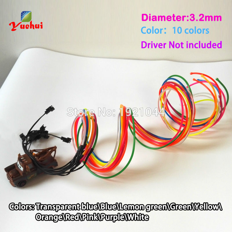New Hot Product Flexible Neon Light 3.2mm EL Wire Rope Tube 10 Color Choice Not Include EL Driver For Toy Craft Party Decoration(China (Mainland))