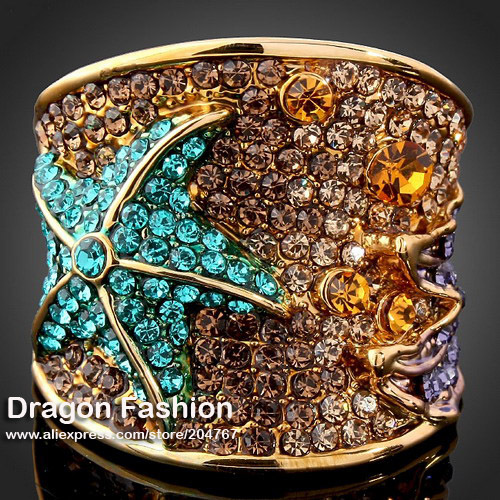 Gold Plated Blue Austrian Rhinestone Crystal Imitation Diamond Starfish Rings Jewelry Women (Dragon DFDR0037 - Dragon Decoration Co.,Ltd. store