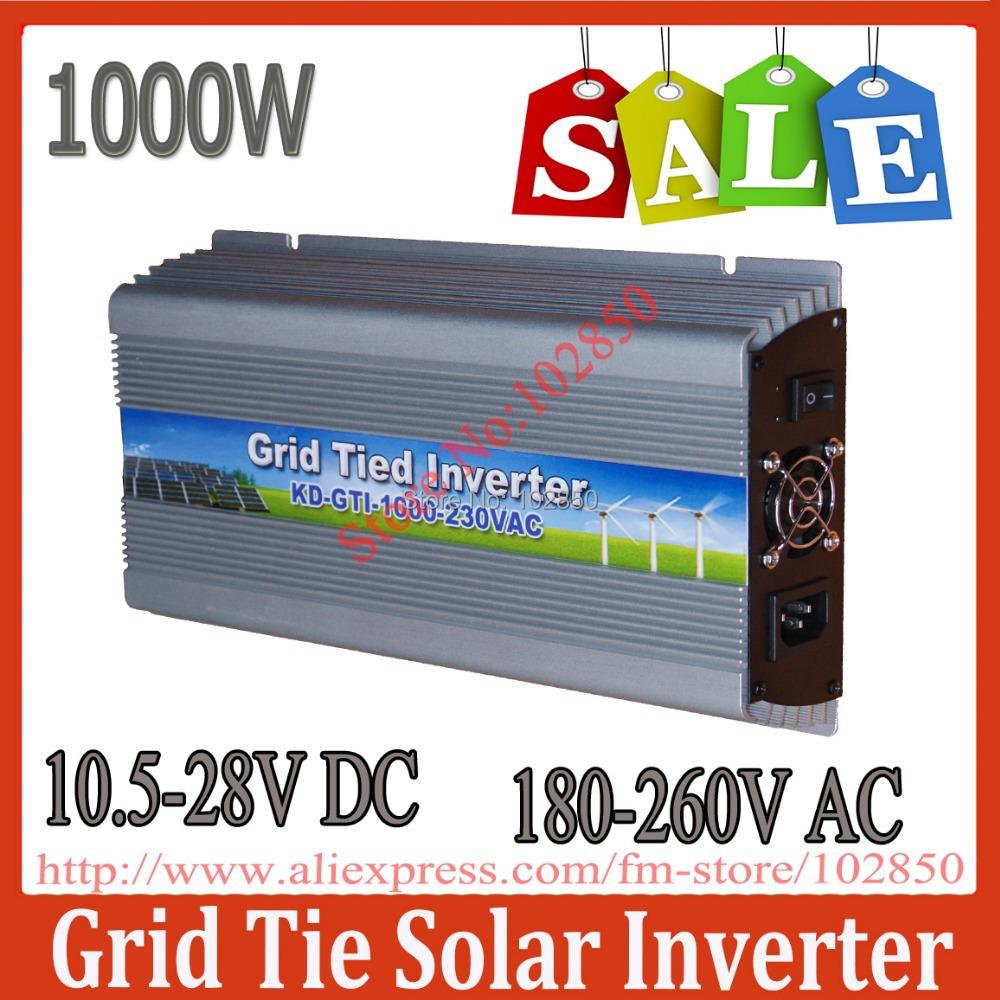 Sale!1000W MPPT grid tie solar inverter,10.5-28V DC,180-260V AC,Solar grid tie inverter,CE,(China (Mainland))