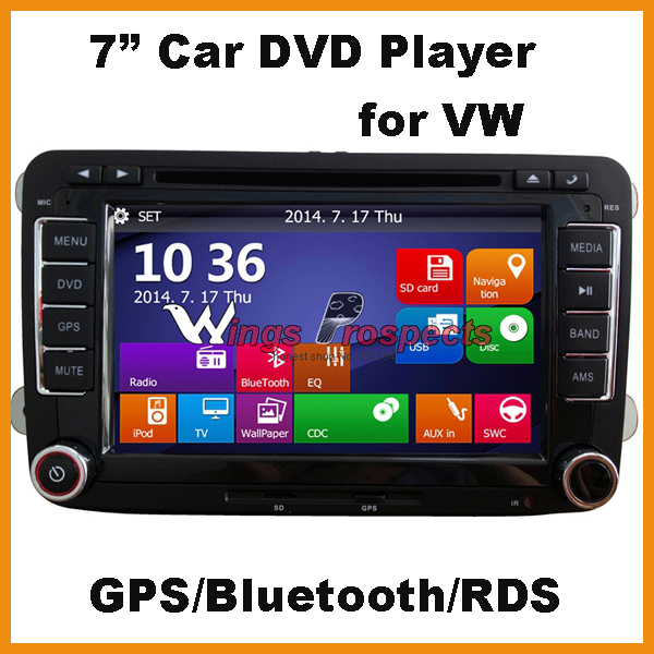 2 Din 7 Inch Touch Screen Car DVD Player for VW Volks Volkswagen Passat Golf Tiguan Caddy Jetta EOS Skoda Canbus GPS Win CE8.0(China (Mainland))