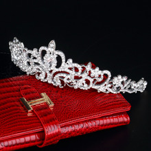1pc High Quality Bridal Princess Austrian Crystal Tiara Wedding Crown Veil Hair jewelry accessories Silver