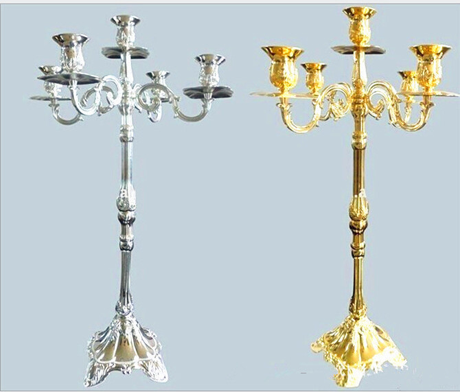 wholesale 63cm height wedding centerpiece candelabra 5-branches silver and gold metal candle holder candelabrum party decoration