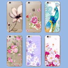 Fashion Cute Flower Painted Back Skin Cover Phone Case For iPhone 5 5S SE 5C 6 6S 6 Plus Soft Silicone Protective CellPhone Bags