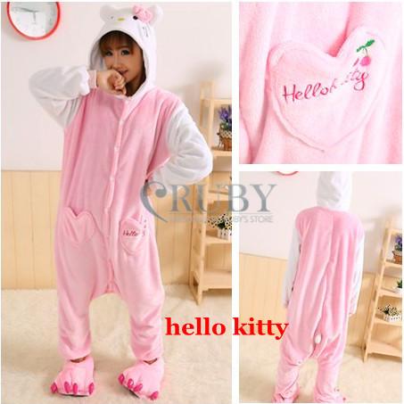 +New Adult Unisex Fashion Pajamas Cosplay Japan Costume Cute Cartoon Hello Kitty Animal Onesies Pyjamas Sleepwears - RUBY TOP 2 store