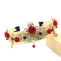 2016 new baroque wind vintage cross hair band bride crown red flower wide headband Trendy Hair
