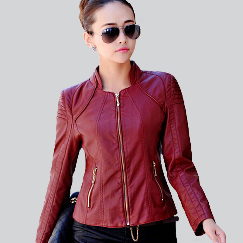 Plus Size women leather jacket short black motorcycle slim coat lady's autumn witner 2016 outwear - Online Store 926713 store
