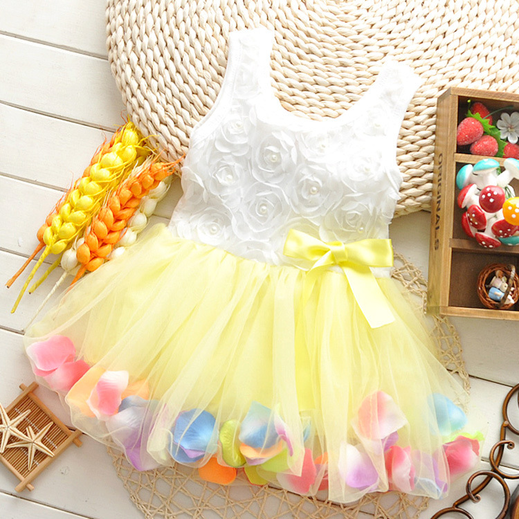 Free shipping, 2014 new baby girls kids child summer flower bow party dress gowns, toddler prom dresses fluffy sundresses(China (Mainland))
