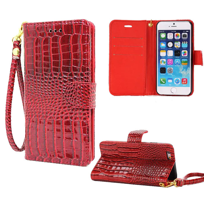 Hand Strap Wallet Case For Iphone 6 Plus Pouch Luxury Crocodile Leather Flip Cover For Apple Iphone 6 plus 5.5 Phone Bags Cases(China (Mainland))