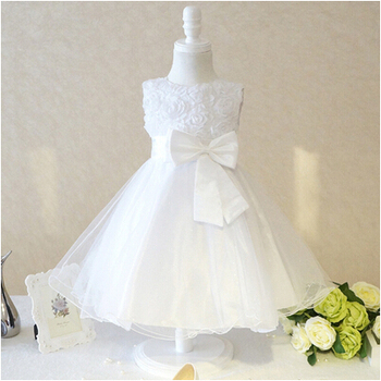 2015 new girls dress princess dress children party wear veil big bow flower girl wedding dress white rose baby girls