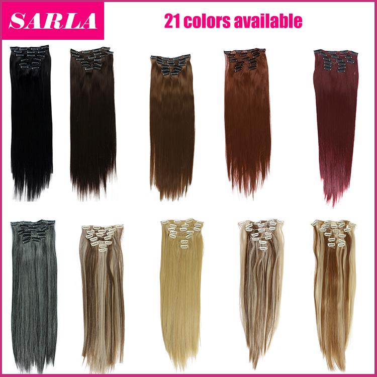 Гаджет  7PCS Synthetic hair extension clip in hair extension japan heat resistance fibre  100pcs /lot 55cm  22inch 777  Free Shipping  None Волосы и аксессуары