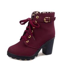 MCCKLE Artı Boyutu yarım çizmeler Kadın Platformu Yüksek Topuklu kadın Çizmeler Toka Ayakkabı Kalın Topuk Kısa Çizme Bayanlar Damla Nakliye(China)
