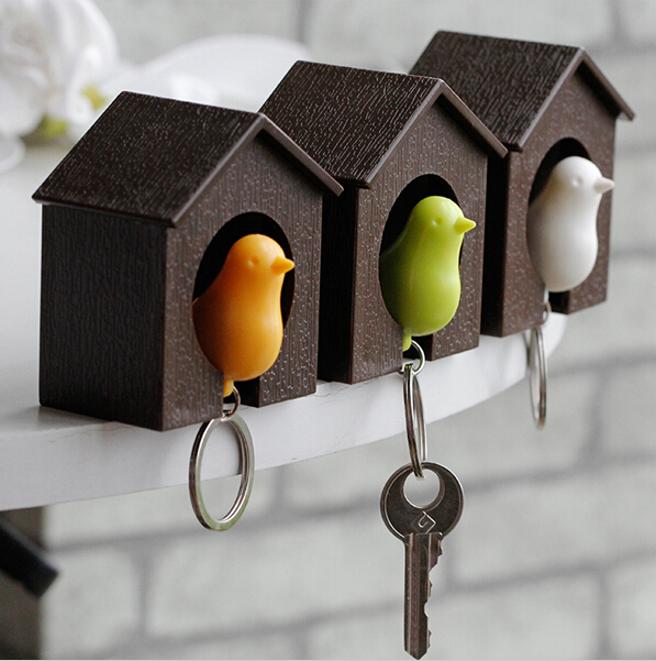 2014 fashion jewelry Whistle Bird House couple keychains Wall Mount Hook Holder Plastic Sparrow Key chain keychain for the keys(China (Mainland))