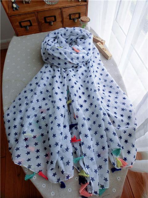 Новый бренд зима кисточкой пятизвездочный шарф женщин шарфы испания белый foulards Bufandas Cachecois бесплатная доставка