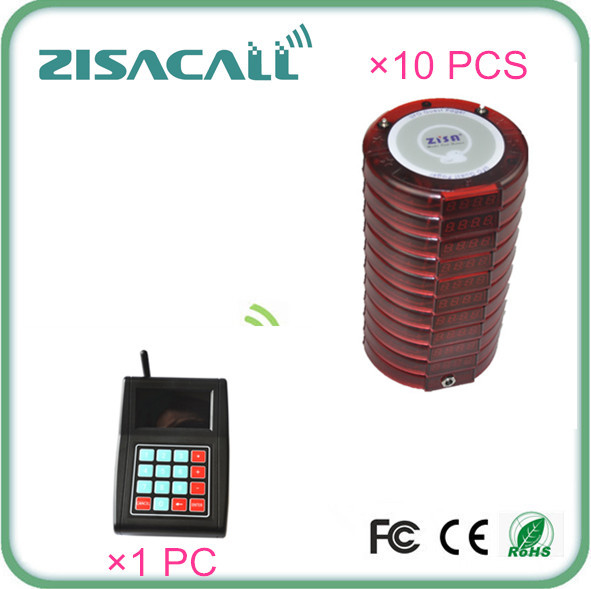 Wireless Digital Restaurant Coaster Pager Guest Table Waiting Paging System 10 coaster pager,1 charger, 1 keypad transmitter(China (Mainland))