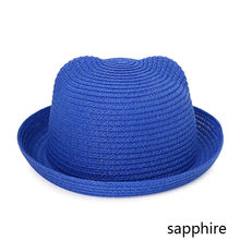 MOLIXINYU موضة آذان قبعات من القش الطفل القبعات للفتيات قبعة بحافة الفتيان قبعة الأطفال الشمس الصيف قبعة الاطفال الصلبة شاطئ بنما قبعات(China)