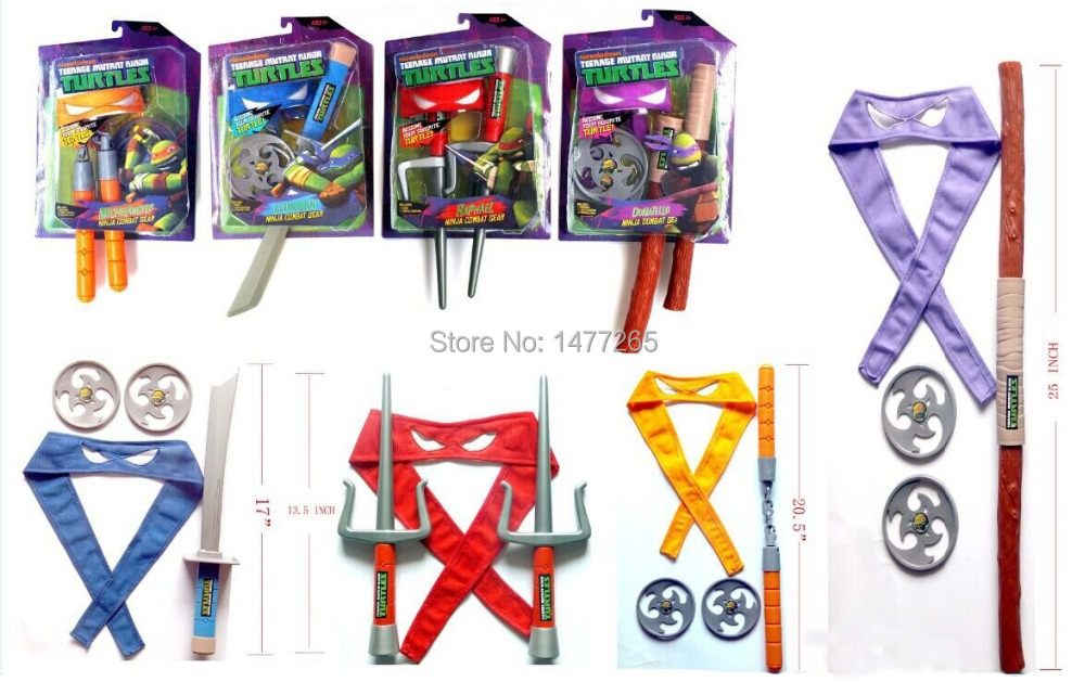 Teenage Mutant Ninja Turtles Juguetes TMNT Weapons Mask Suit Children's Birthday Gift Party Anime Action Toy Figure(China (Mainland))