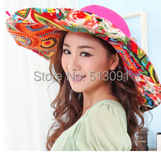 2015 New Arrival Limited Floral Adult Women Straw Hat Flowers Women's Summer Sunbonnet Folding Sun Hat Beach Cap Big Straw(China (Mainland))