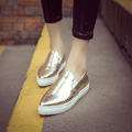 New Spring Fall Fashion Hot Women Casual Shoes Pointed Toe Sliver Gold Loafers Flat Shoes a