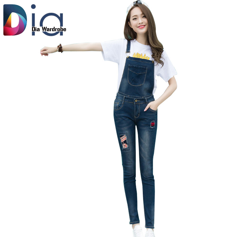 Dia 2015 Fashion Casual Blue Zipper Fly Pockets Hole Button Overalls Full Length Medium Condole belt removable Women Denim JeansОдежда и ак�е��уары<br><br><br>Aliexpress