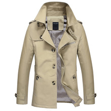 2016 New Spring Mens Khaki Trench Coat Full Length Slim Fit Mens Long Coat 5XL Stand Collar Mens Business Coats and Jacket,PA125(China (Mainland))