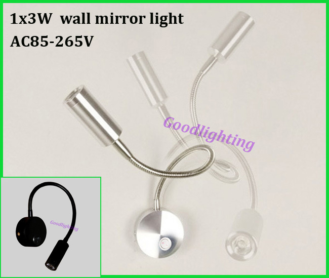 product led spotlight wall mounted wall mirror light 3W AC85-265V white or warm white with on/off  bedside lamp