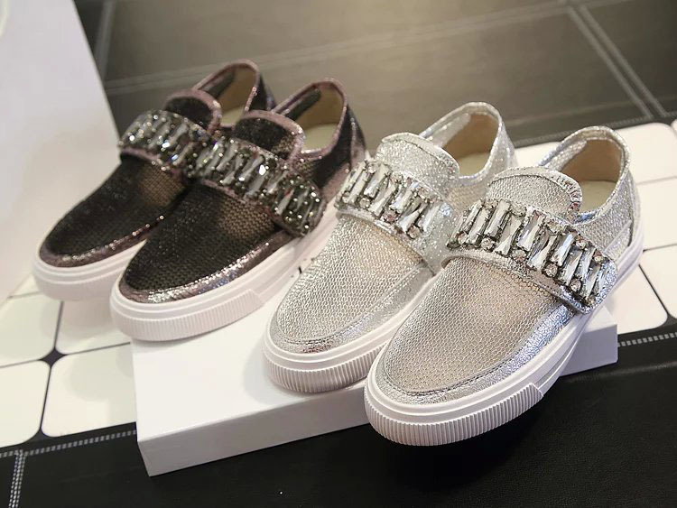luxury brand crystal women fashion sneakers shinning crystal espadrilles loafers mesh upper shoes cc espadrilles women flats ash(China (Mainland))