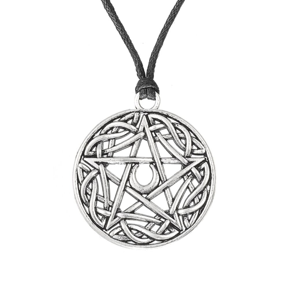 Wicca Pentacle Star Moon Turkish Jewelry Pentagram Pendant Power Moon Necklace bijouterie buy direct from china(China (Mainland))