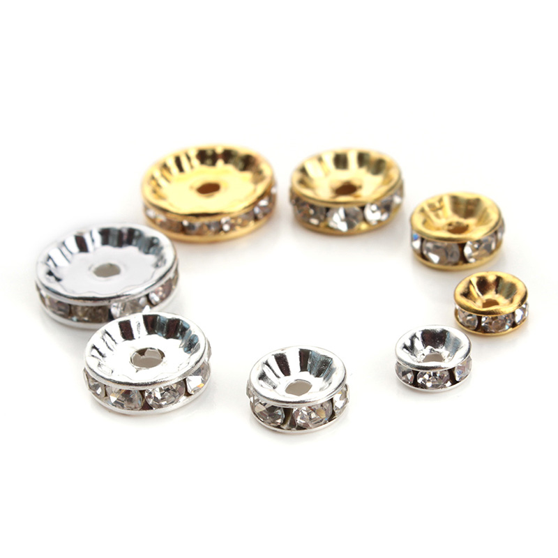 5 6mm/8mm/10mm/12mm Diameter Gold/Silver Plated Metal Spacer Beads Rondelle Rhinestone Loose Crystal Jewelry F1477 - Yiwu Xinyao Factory store