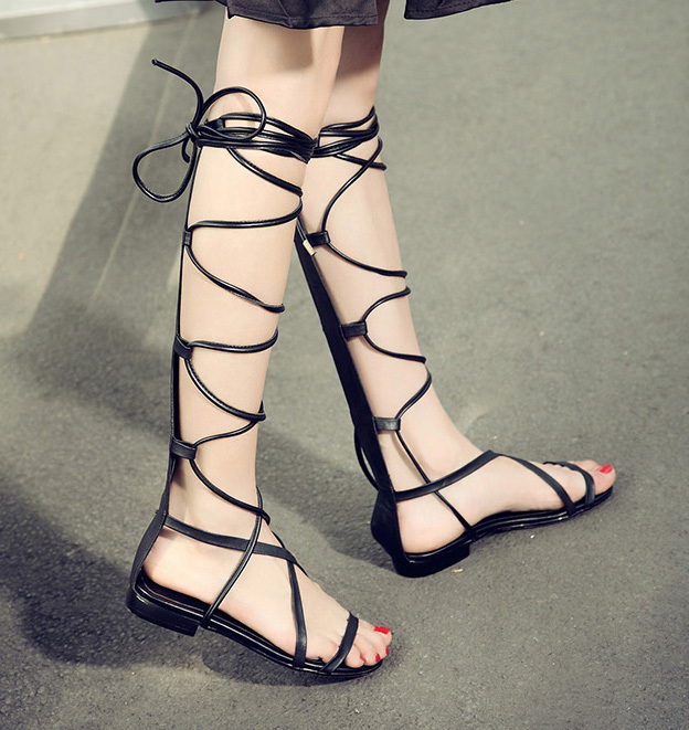 Rome Gladiator Sandals Cutouts Woman Flats Women Knee Strappy Fashion Lace Sexy Large Size 34-43 Gold Black - shop of Lisa store