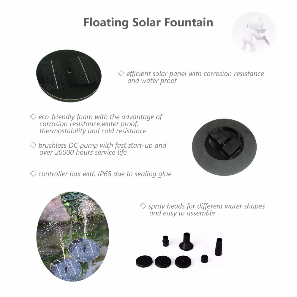 2016 High Quality Floating Low Power Consumption Solar Light Fountain Pump for Birdbath Fish Tank Small Pond Garden Decoration