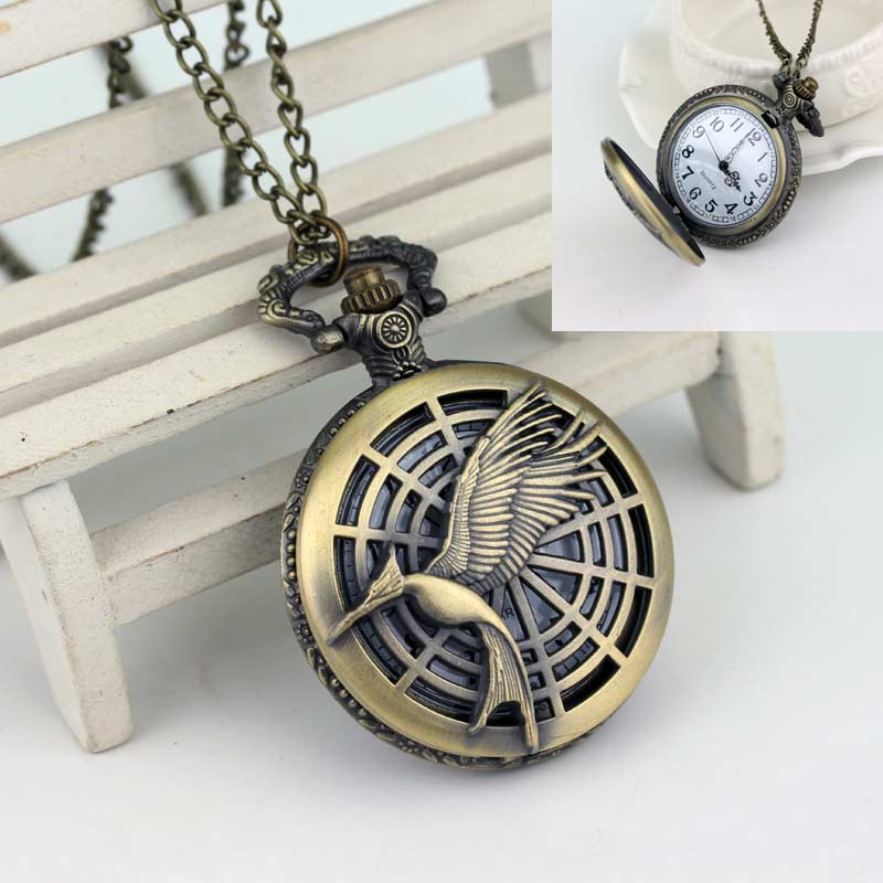 Free Shipping To The Hunger Games Quartz Pocket Watch Sweet Gift For My Family Movie Jewelry Factory Direct Sale(China (Mainland))