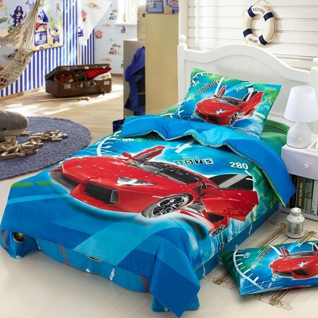 race cars kids boys cartoon baby bedding set children twin