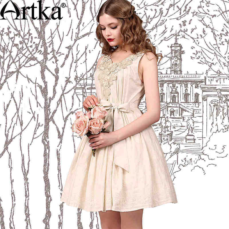 Artka Women's Summer Vintage Sleeveless Embroidery V-neck Belt Cinched Waist Show Thin All Match Dress LA10042X(China (Mainland))