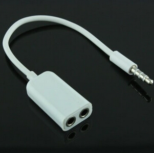 3.5mm double jack Headphone splitter for iPod iPhone 4 4S iPad2 Earphone Accessories(China (Mainland))