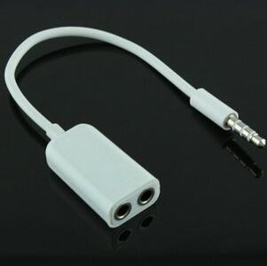 3.5mm double jack Headphone splitter for iPod iPhone 4 4S iPad2 Earphone Accessories(China (Mainland))