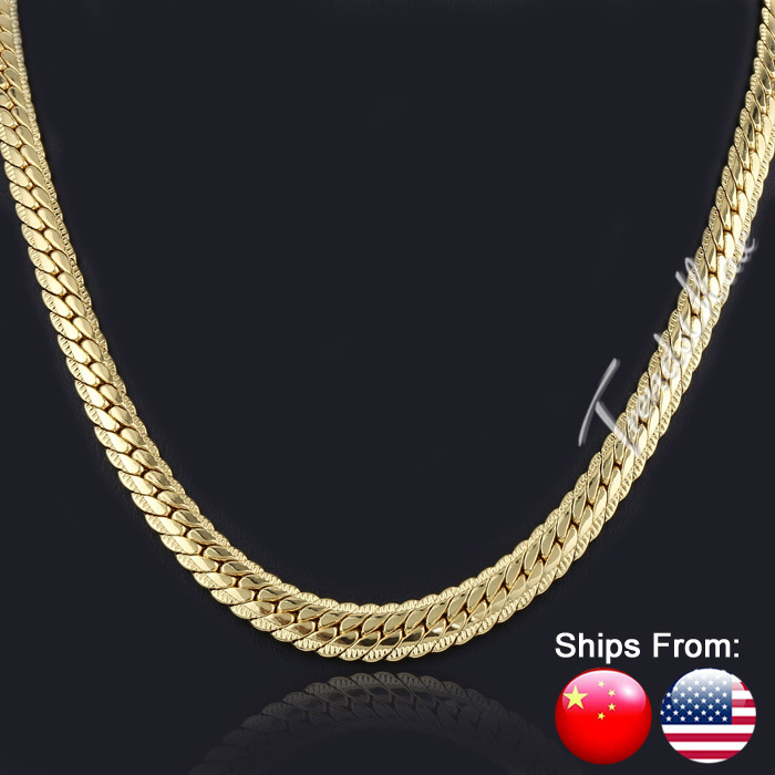 Ship From USA 6MM Wide 61cm Long Trendy Wholesale Mens Jewelry Boys Snake Chain Gold Filled Chain Fashion Necklace GN399(Hong Kong)