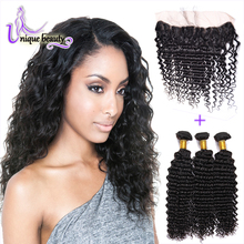Fair Price 8A Lace Frontal Closure With Bundles Unice Human Hair Product 3 Bundles Brazilian Virgin Hair Deep Weave With Closure