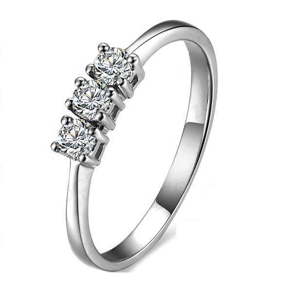 Solid 18K White Gold Ring 0.3Ct Lab Synthetic Diamond Ring Gift for girl Ideal Anniversary Ring Engagement Wedding Jewelry(China (Mainland))
