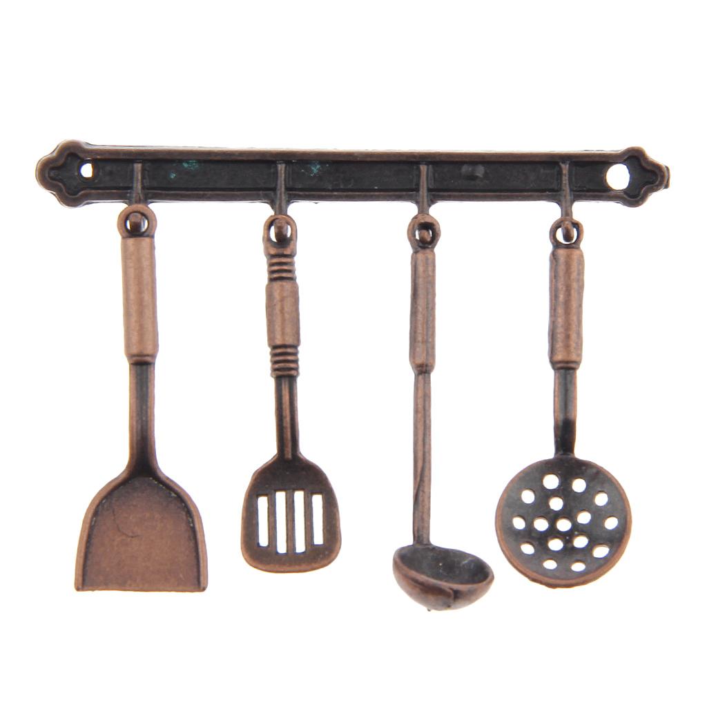 5pcs 1:12 Doll House Miniature Metal Kitchenware Bronze Dollhouse Model Cook Set Classic Kitchen Supplies Parts Toys Hobbies(China (Mainland))