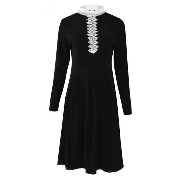 Популярное женское весеннее платье с длинными рукавами средней талией лоскутное