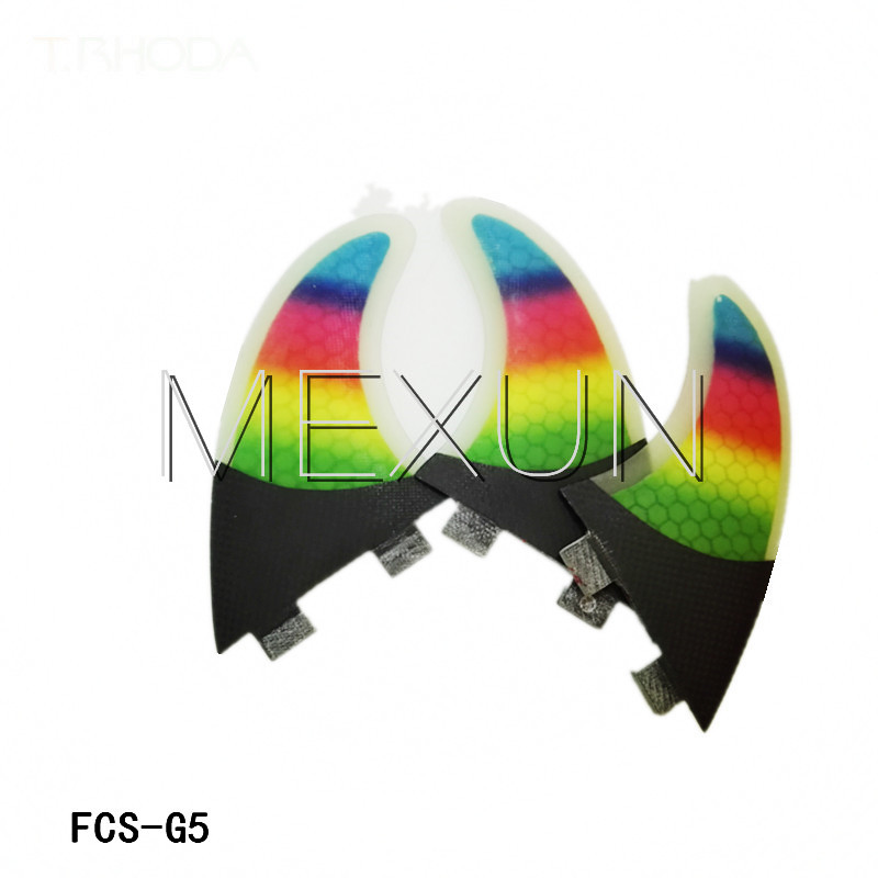 FCS -G5 surfboard fins with fiberglass honey comb material rainbow color fins (Tri-set)(China (Mainland))