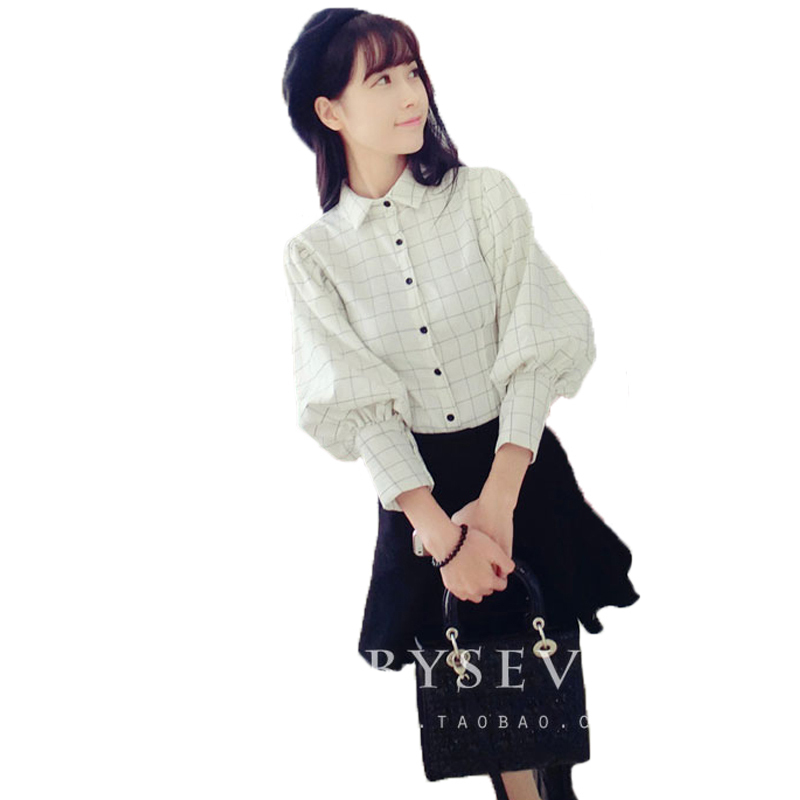 Cute women clothes for spring and autumn lantern sleeve plaid shirt women lady behind big bow blouse check shirts(China (Mainland))