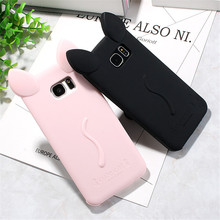 cute Cat ears with rope soft gel TPU silicon Shock-proof case For Samsung Galaxy S7 Edge G9350 / S7 G9300 / S6 Edge G9250 / S6(China (Mainland))