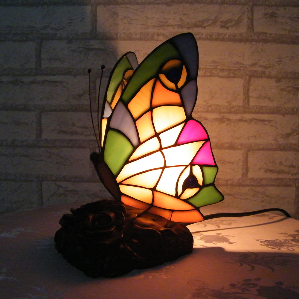 """8"""" VSROLLING Bedroom decoration butterfly Handmade Multicolored Glass Tiffany desk Table Lamps Resin base(China (Mainland))"""