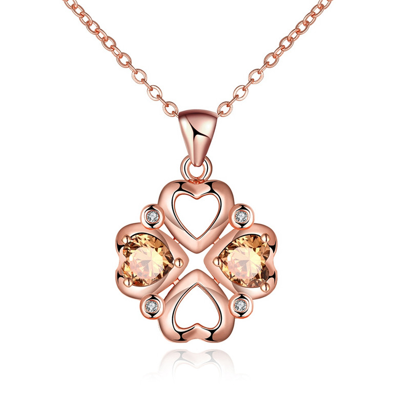 Romantic Four Hearts Hollow Design Champagne CZ Diamond Pendants Necklace Rose Gold Plated Fashion Jewelry For Women QA0024(China (Mainland))