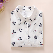 Women white cute mouse cartoon pattern print blouses long sleeve Blusas Femininas cotton shirts casual loose office wear tops