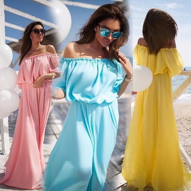 Лето Сексуальная Элегантный Пляж Партии Slash Шеи С Плеча Высокая Талия Длина Пола Шифоновое Платье