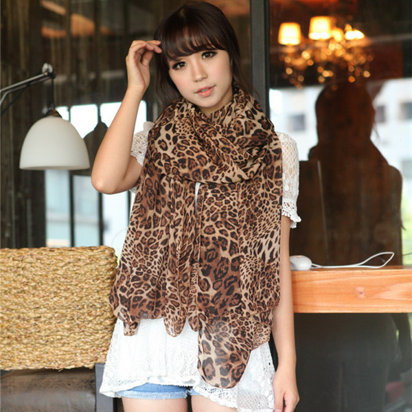 Free Shipping Autumn and Winter Fashion Leopard Women Lady Silk Chiffon Soft Long Scarf Large Wrap Shawl Scarves(China (Mainland))