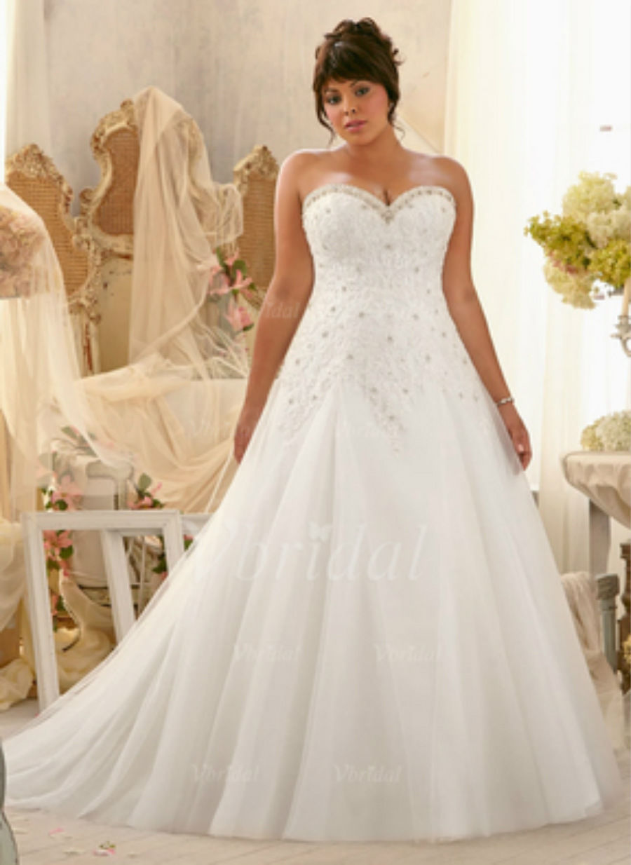 2015 plus size white ivory bridal gown lace wedding dress for Lace wedding dresses plus size